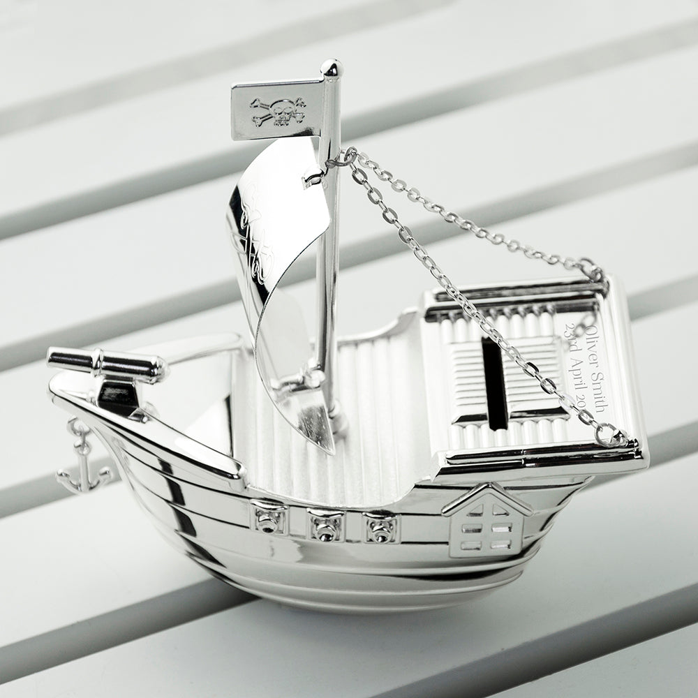 Personalised Silver Plated Pirate Ship Money Box - treat-republic