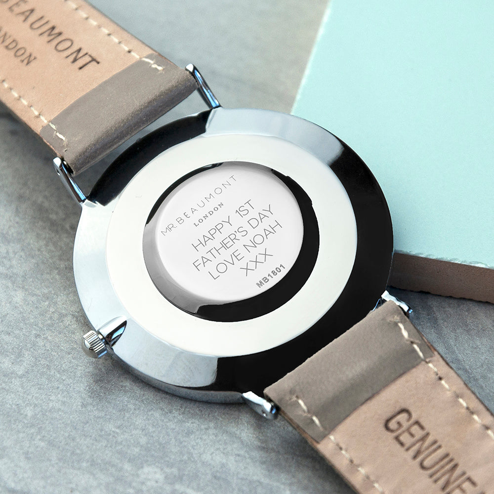 Mr Beaumont Mens Personalised Leather Watch In Ash
