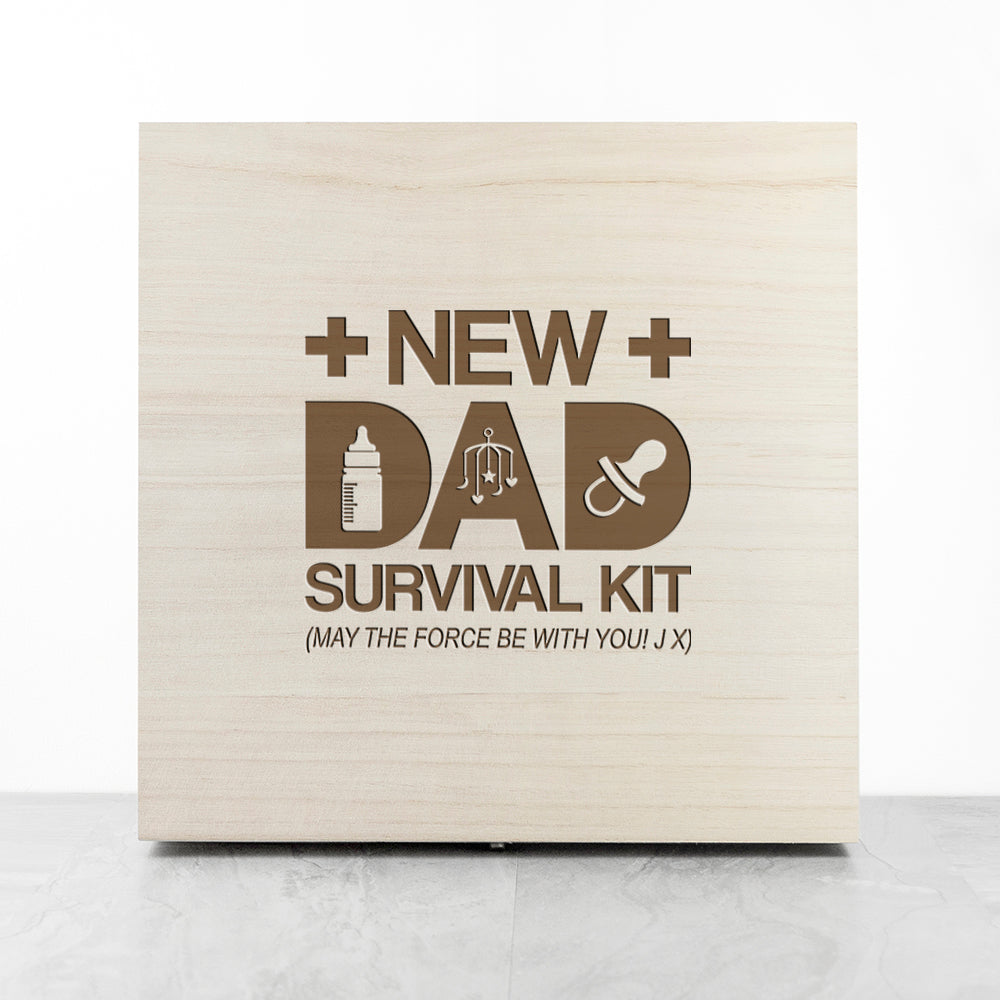 Personalised New Dad Survival Kit Message Storage Box