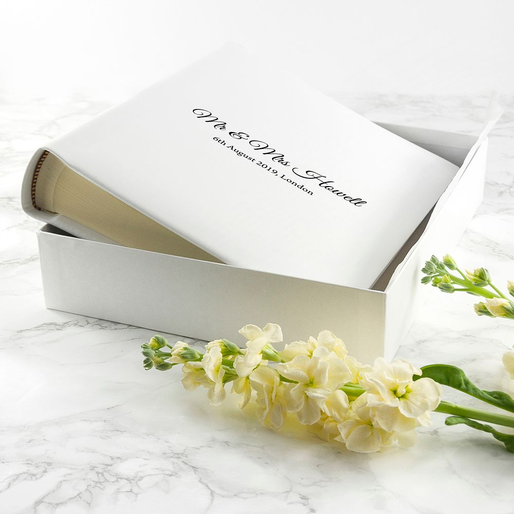 Engraved White Leather Photo Album