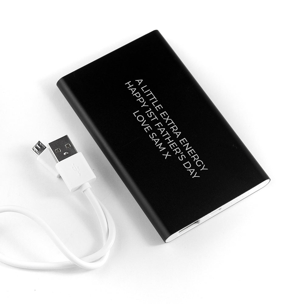 Personalised Engraved Black Powerbank - treat-republic