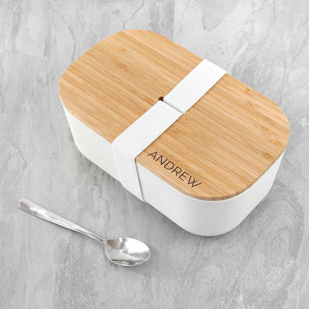 Personalised Large White Bamboo Lunch Box