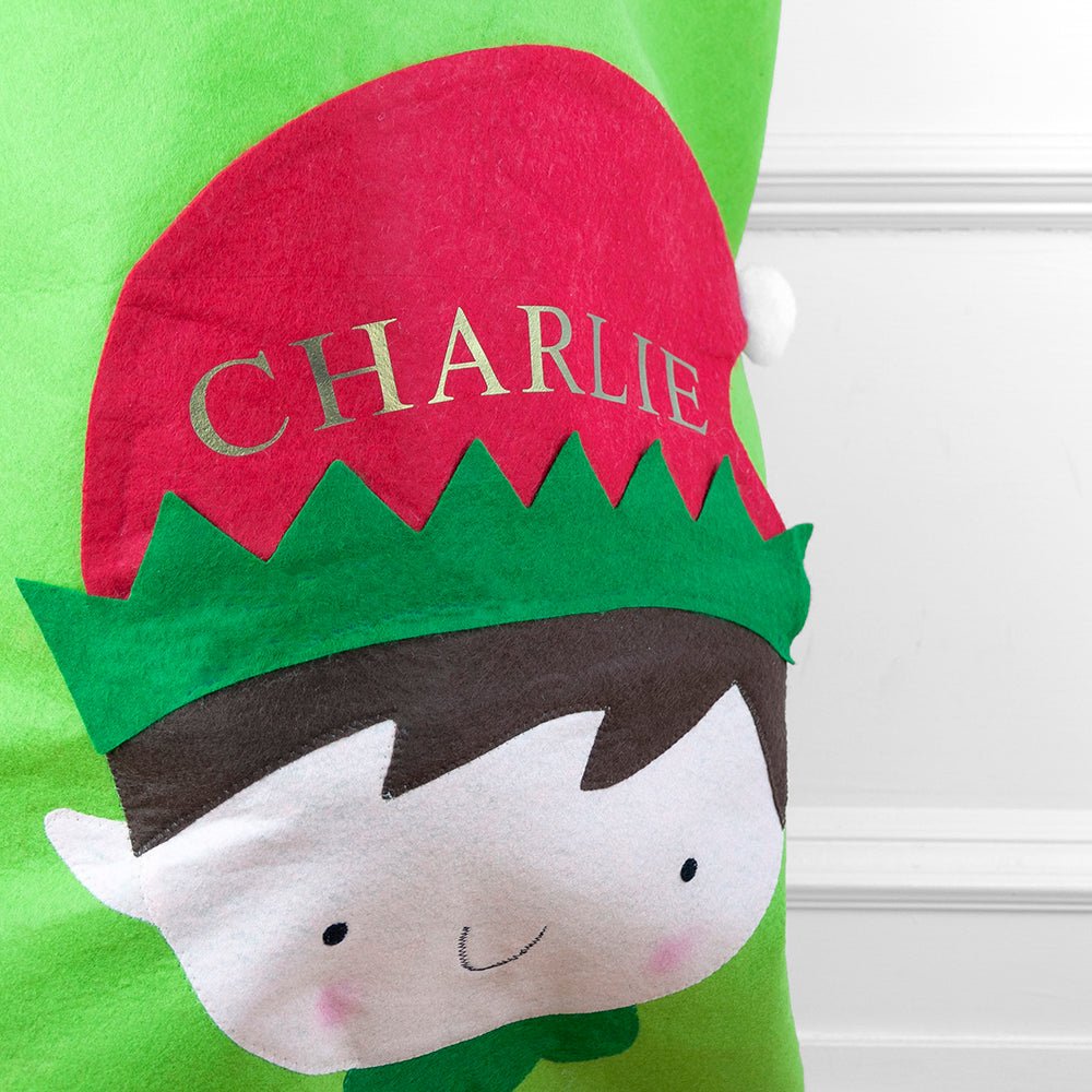 Personalised Christmas Elf Santa Sack
