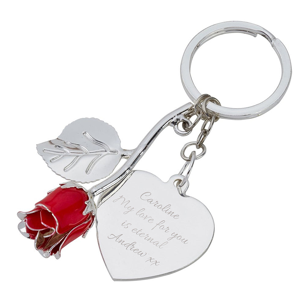 Personalised Silver Plated Rose Keyring