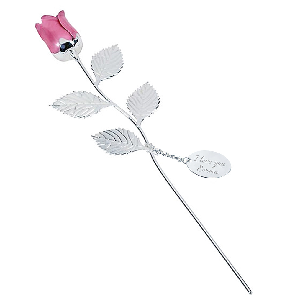 Personalised Silver Plated Small Rose