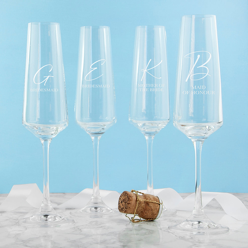 Personalised Wedding Party Champagne Flute
