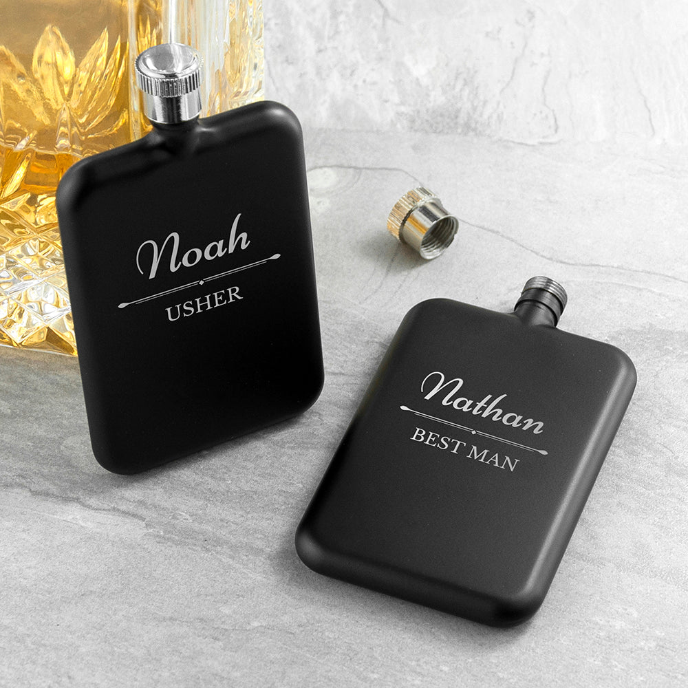 Personalised Groomsmen Slimline Hip Flask