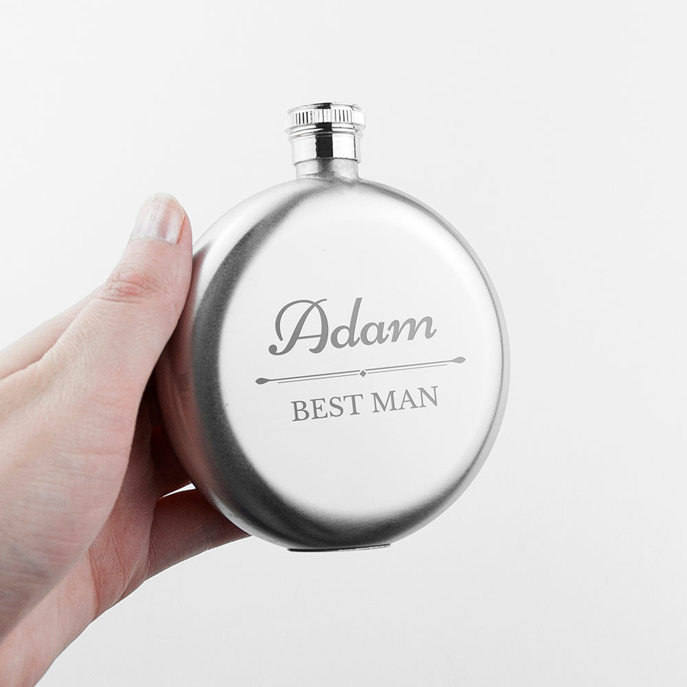 Personalised Groomsmen Round Hip Flask