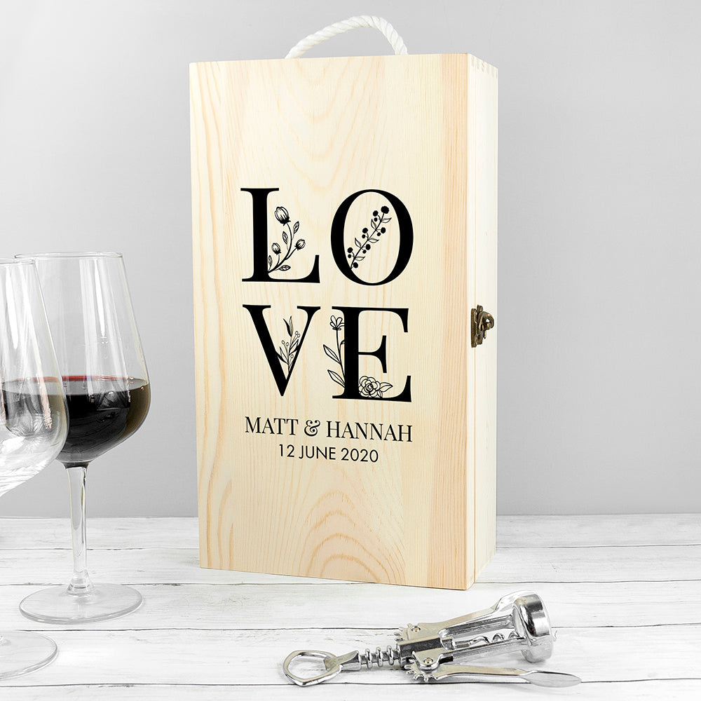 Personalised Love Double Wine Box