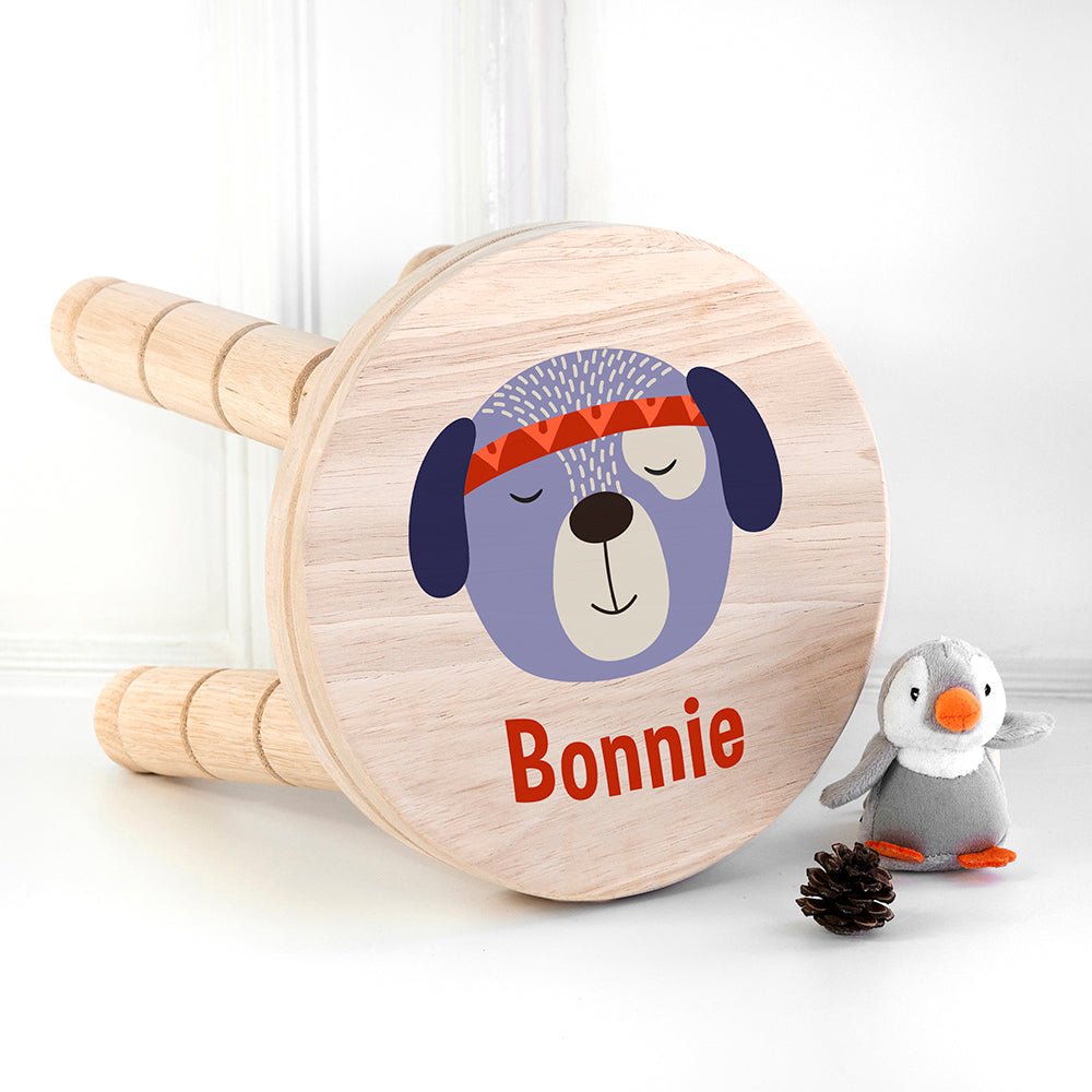 Personalised Cute Puppy Kids Wooden Stool