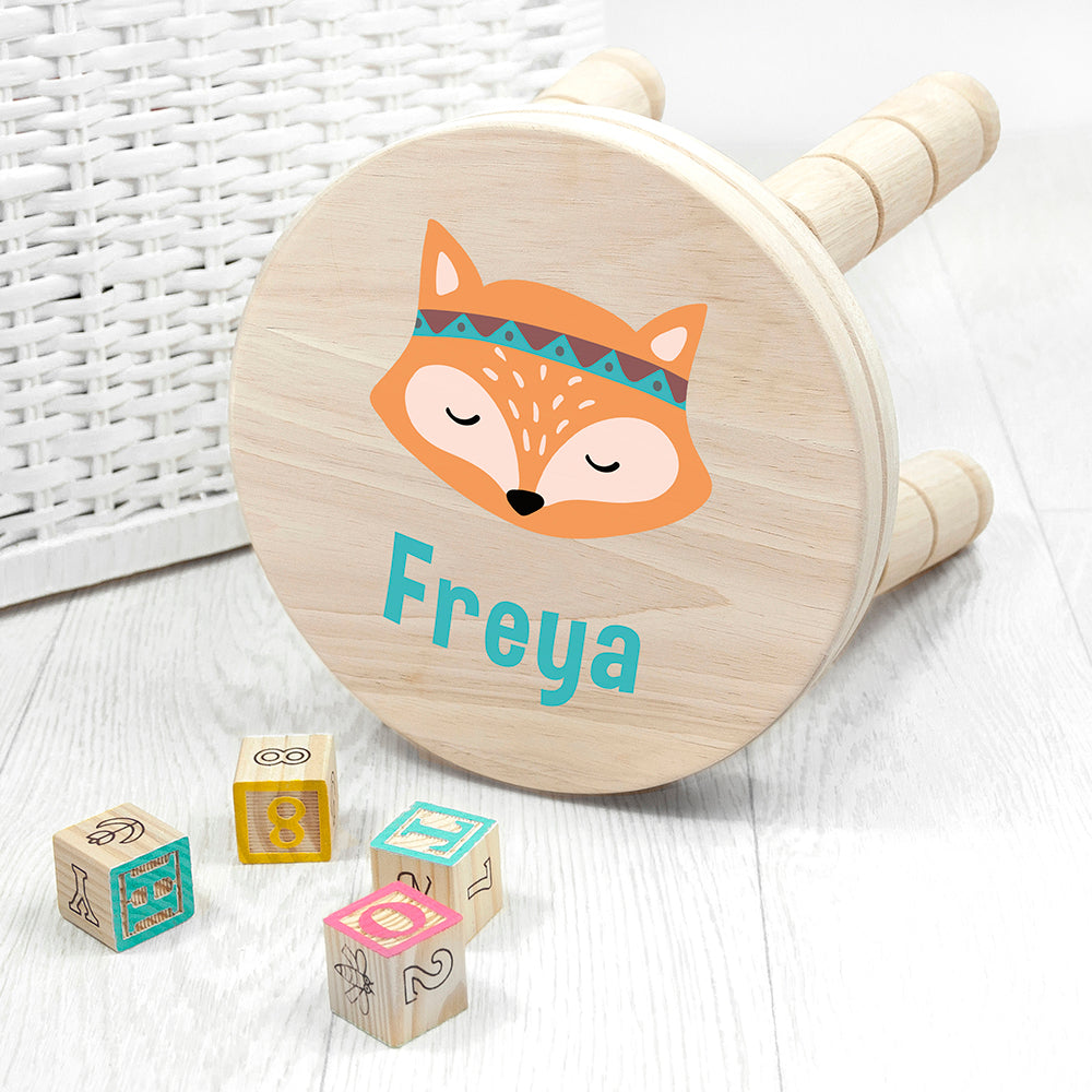 Personalised Cute Fox Kids Wooden Stool
