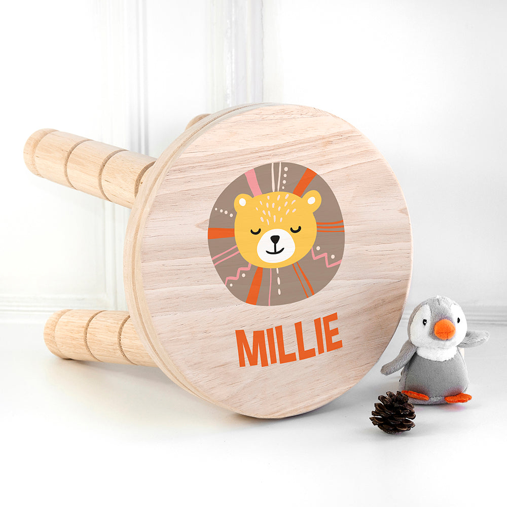 Personalised Cute Lion Kids Wooden Stool