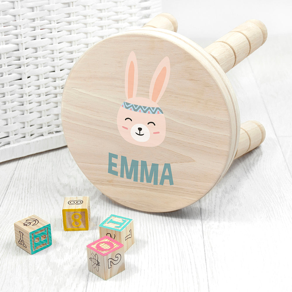 Personalised Cute Bunny Kids Wooden Stool