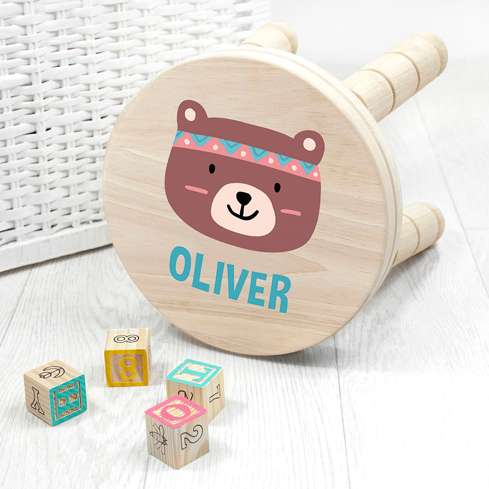 Personalised Cute Bear Kids Wooden Stool