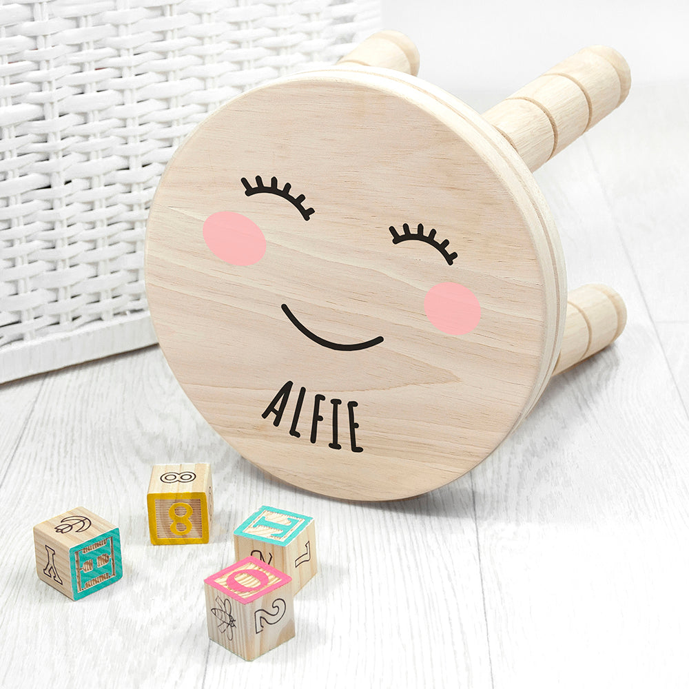 Personalised Cute Face Kids Wooden Stool
