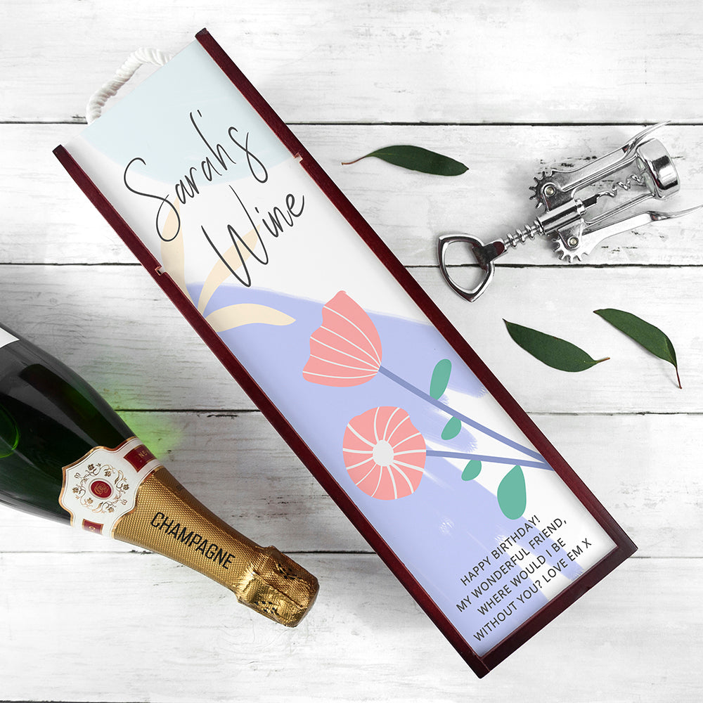 Personalised Floral Wine Box