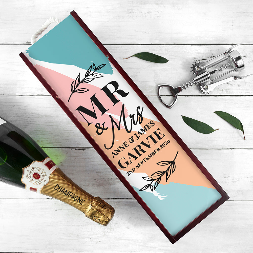 Personalised Mr & Mrs Wine Box