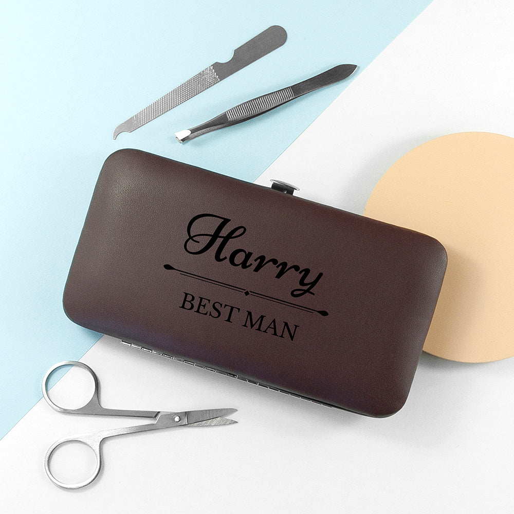 Personalised Wedding Party Grooming Kit - Brown
