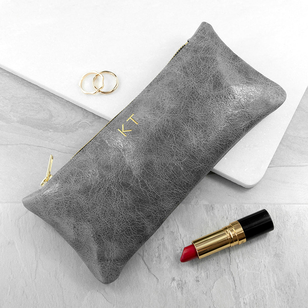 Monogrammed Grey Leather Slimline Clutch