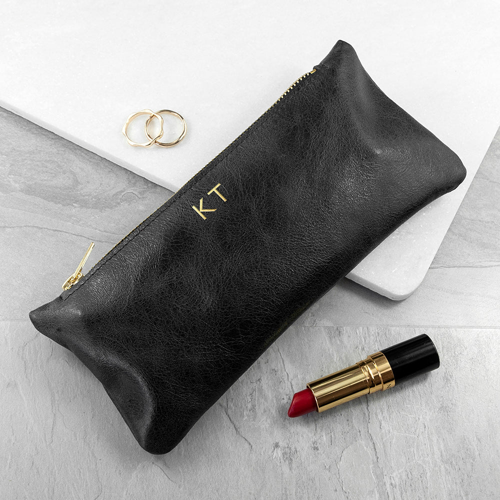 Monogrammed Black Leather Slimline Clutch
