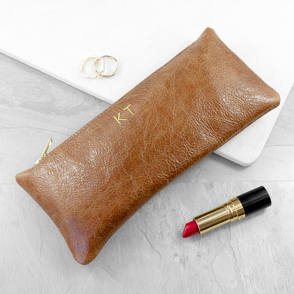 Monogrammed Tan Leather Slimline Clutch