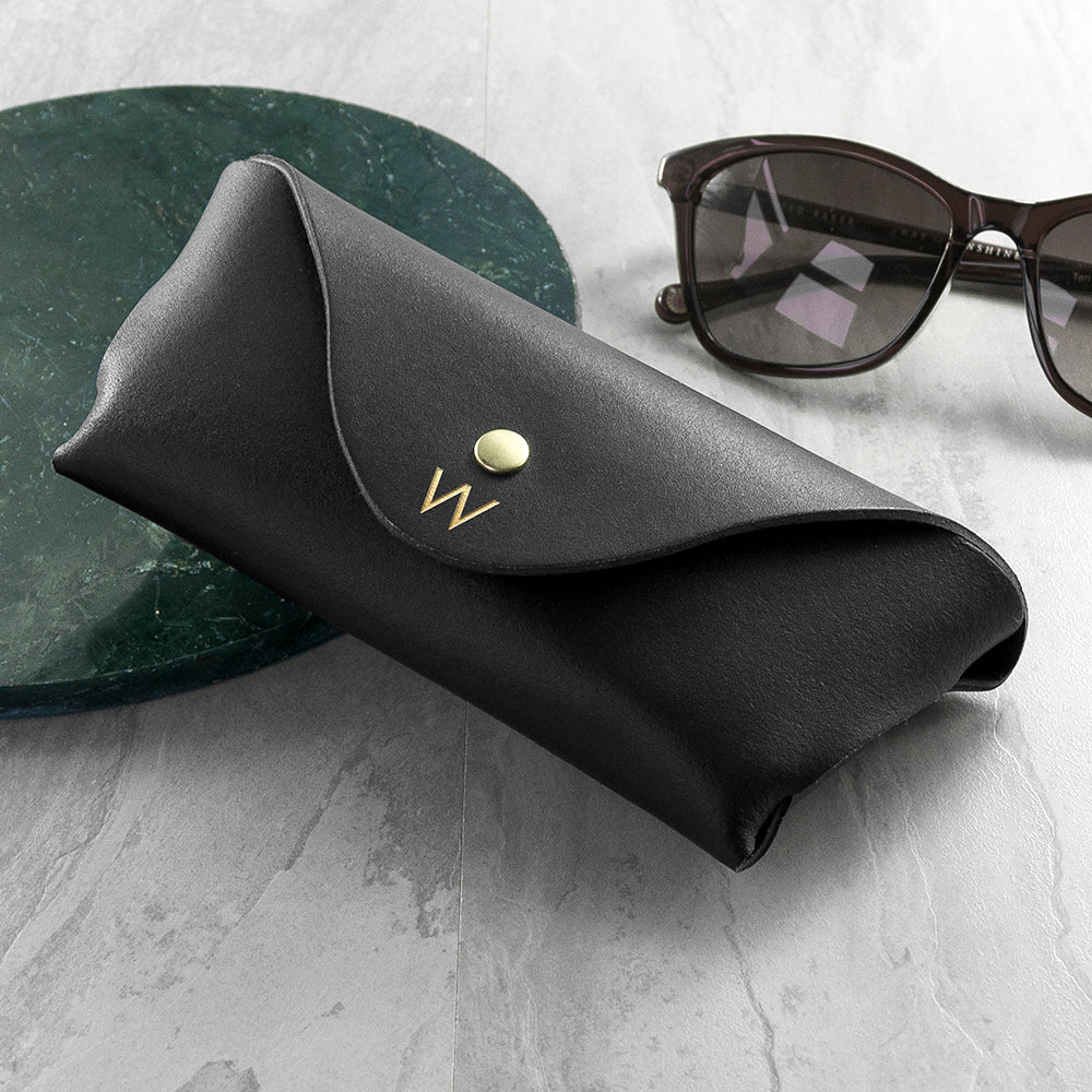 Personalised Black Leather Origami Glasses Case