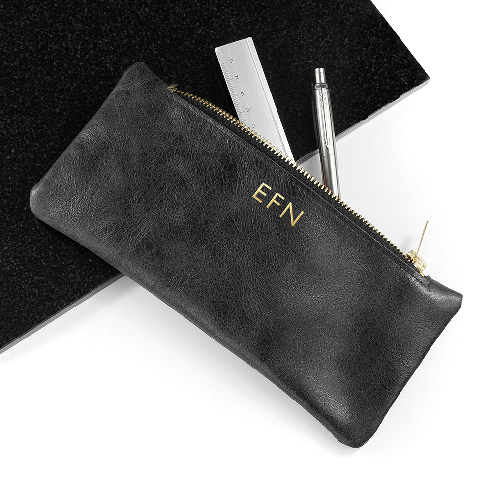 Monogrammed Luxury Leather Pencil Case