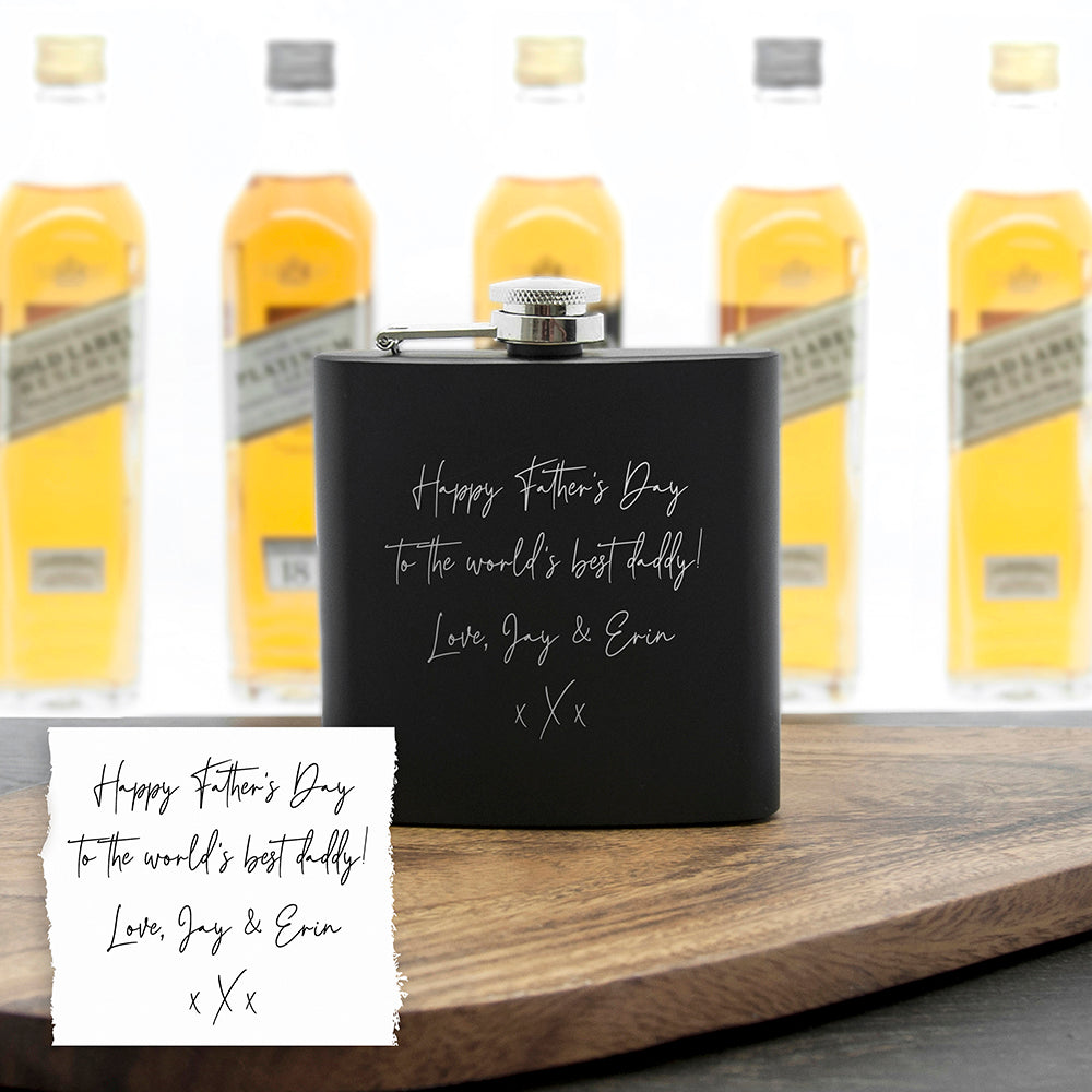 Personalised Handwriting Black Hip Flask
