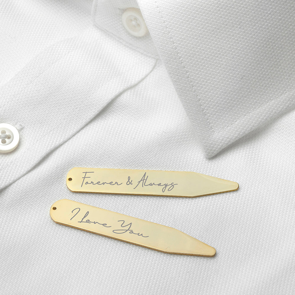 Personalised Handwriting Collar Stiffeners - Gold
