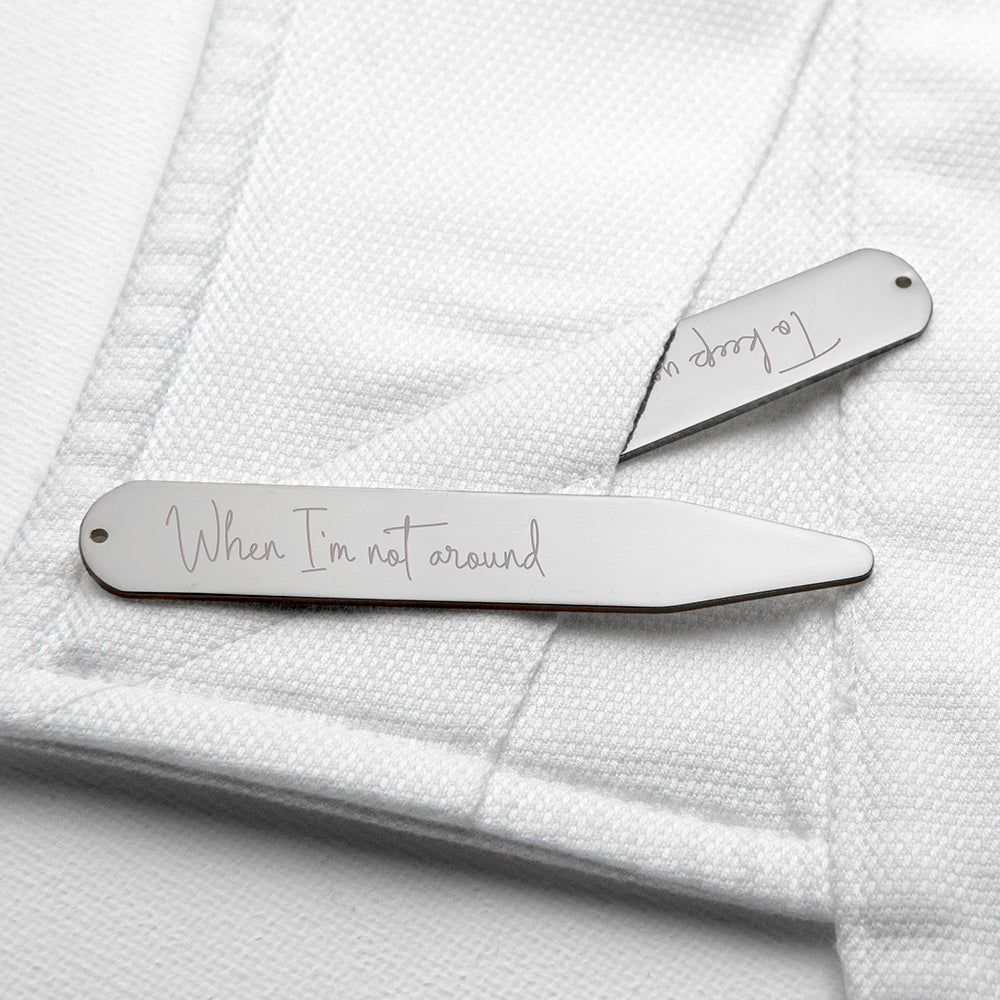 Personalised Handwriting Collar Stiffeners - Silver