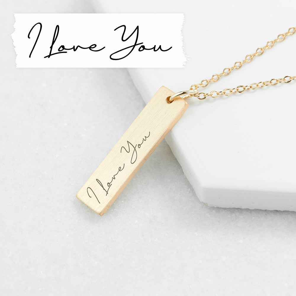 Personalised 'I Love You' Real Handwriting Bar Necklace