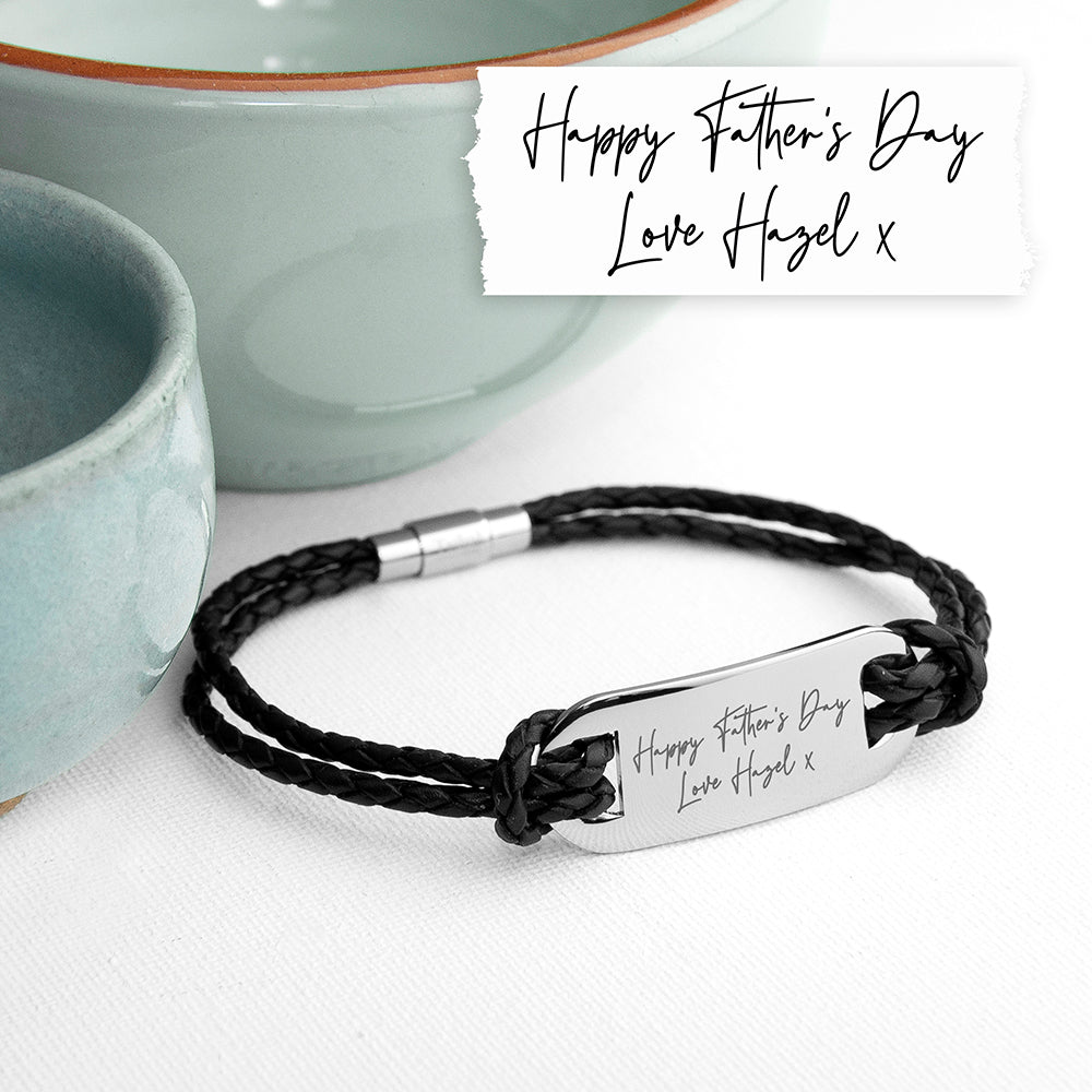 Personalised Handwriting Mens Black Leather Bracelet