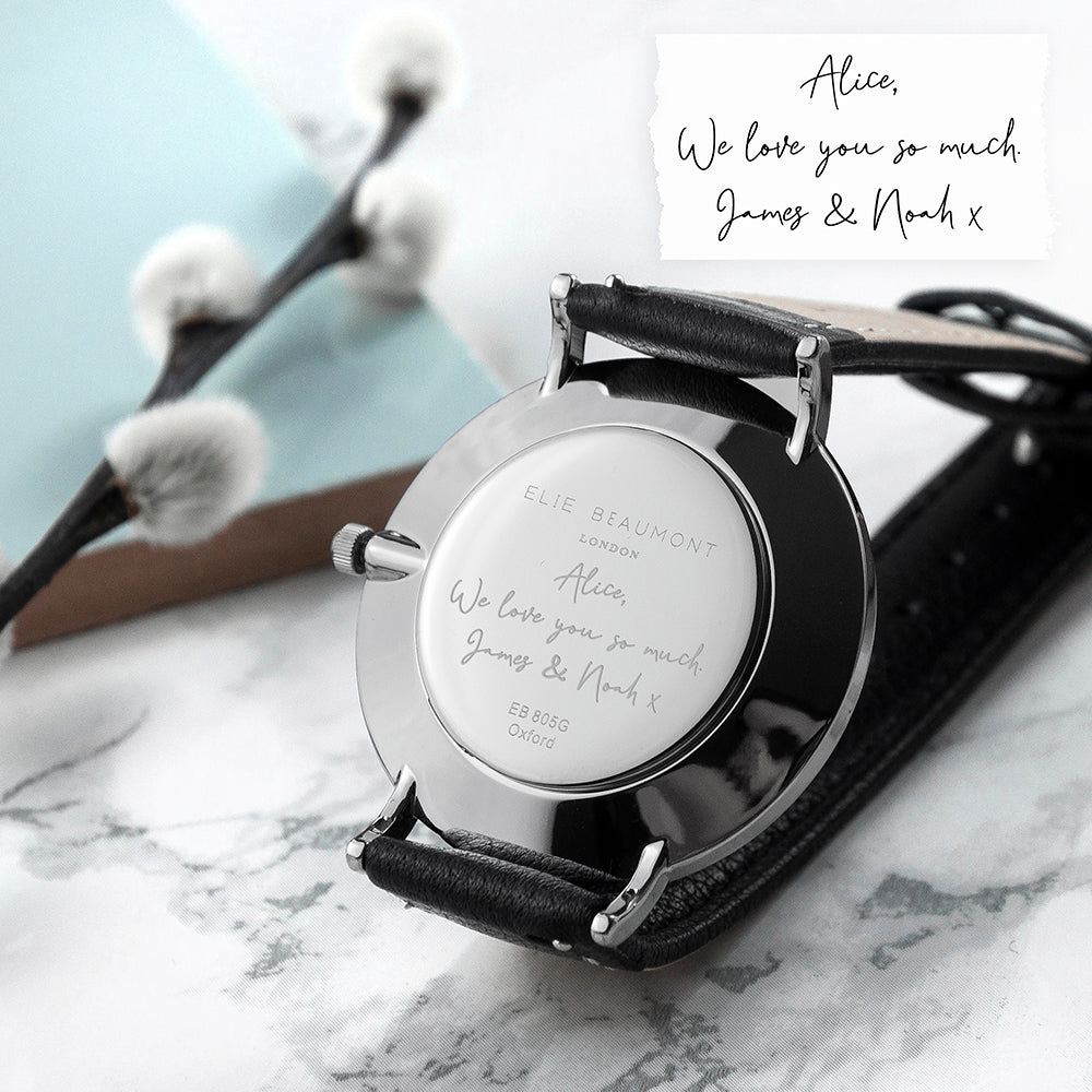 Personalised Handwriting Ladies Black Leather Watch