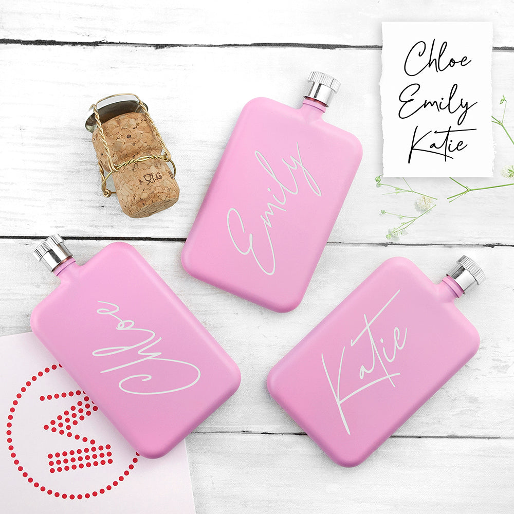 Personalised Handwriting Pink Slimline Flask