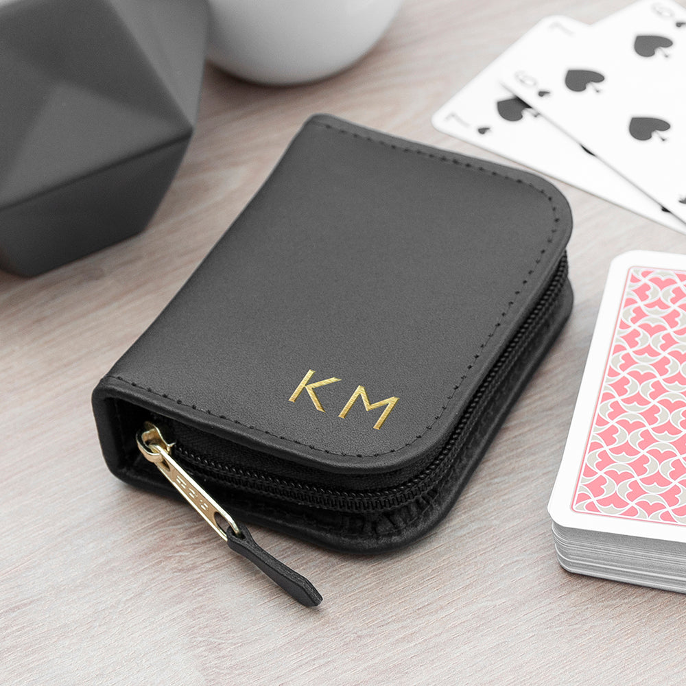 Personalised Leather Single Playing Cards Case