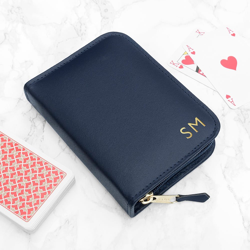Personalised Leather Double Playing Cards Case