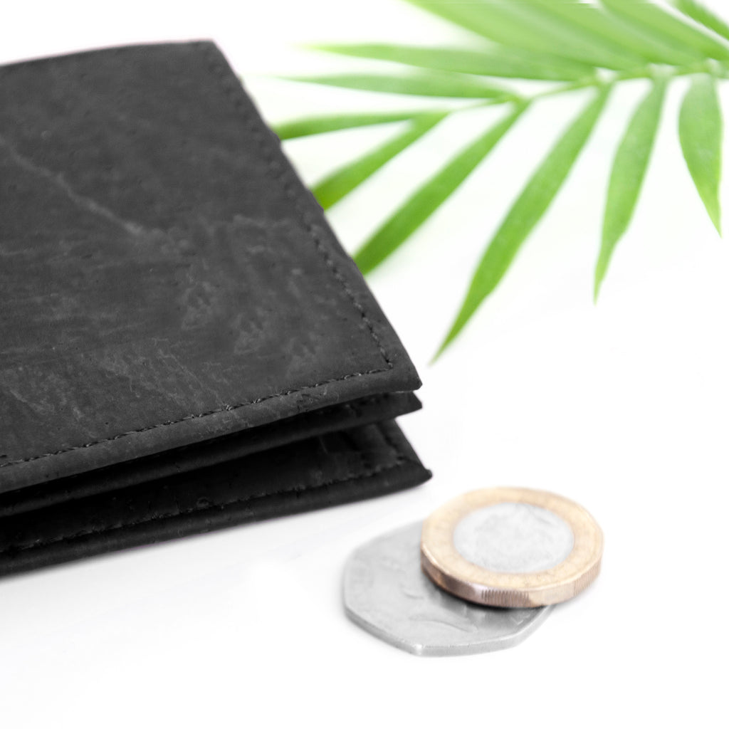 Natural Vegan Black Leather Cork Wallet