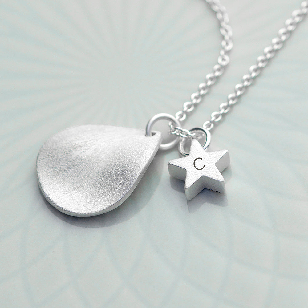 Personalised Matt Star and Drop Necklace