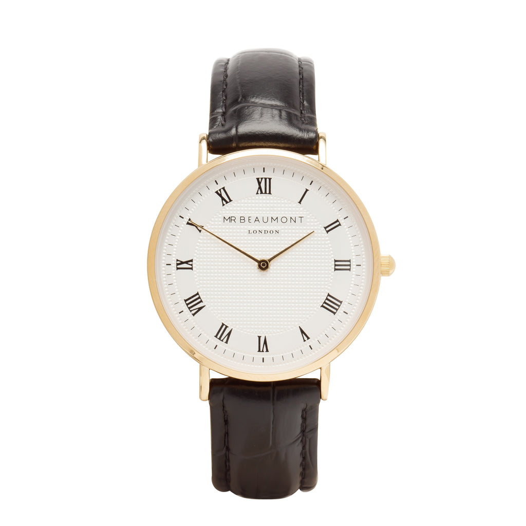 Mr Beaumont Men's Personalised Vintage Black Leather Watch with Gold