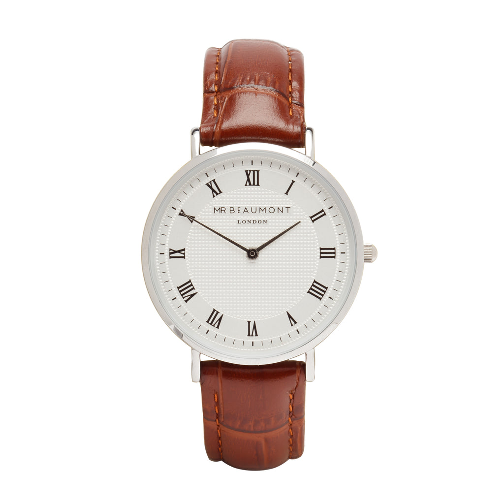 Mr Beaumont Men's Personalised Vintage Brown Leather Watch with Silver