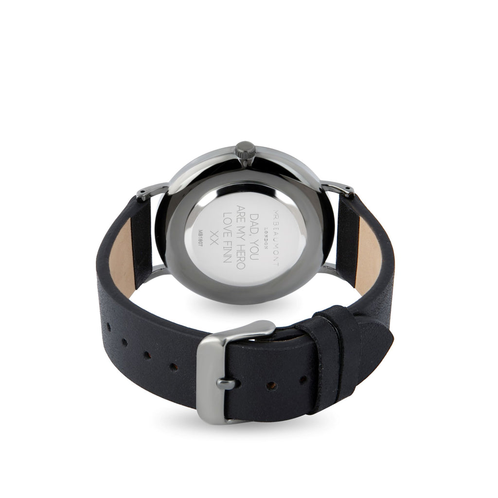 Mr Beaumont Men's Personalised Carbon Black Leather Watch