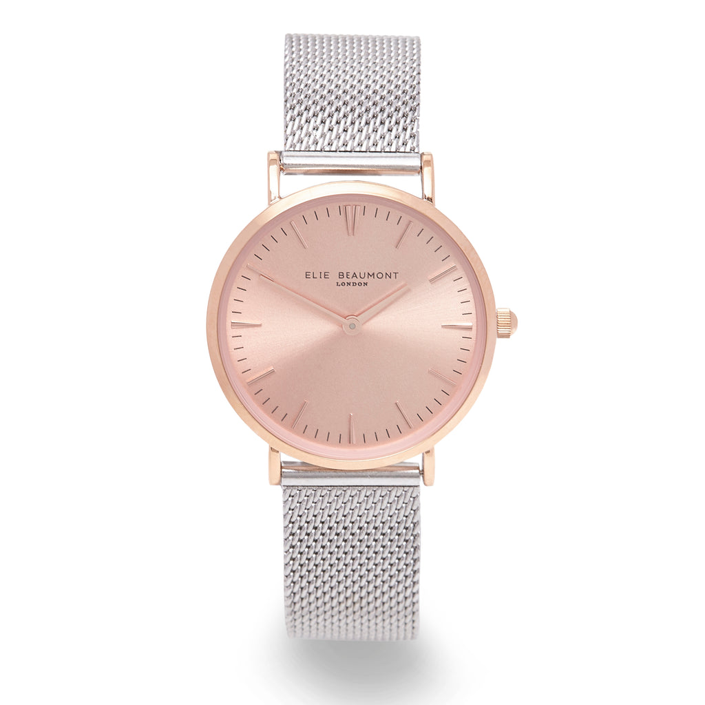 Elie Beaumont Ladies Personalised Mesh Watch in Silver and Rose Gold