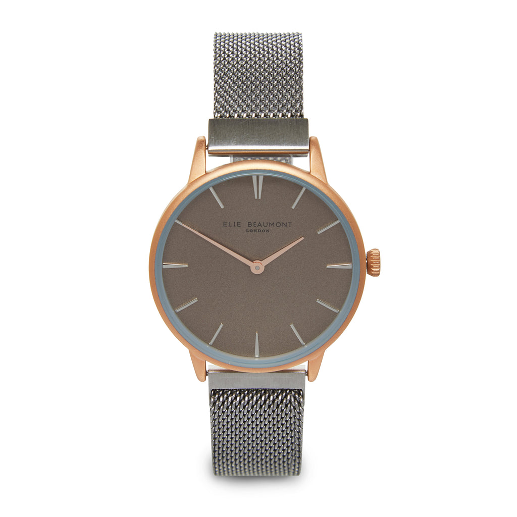 Elie Beaumont Ladies Personalised Magnetic Mesh Watch in Dark Silver and Rose Gold