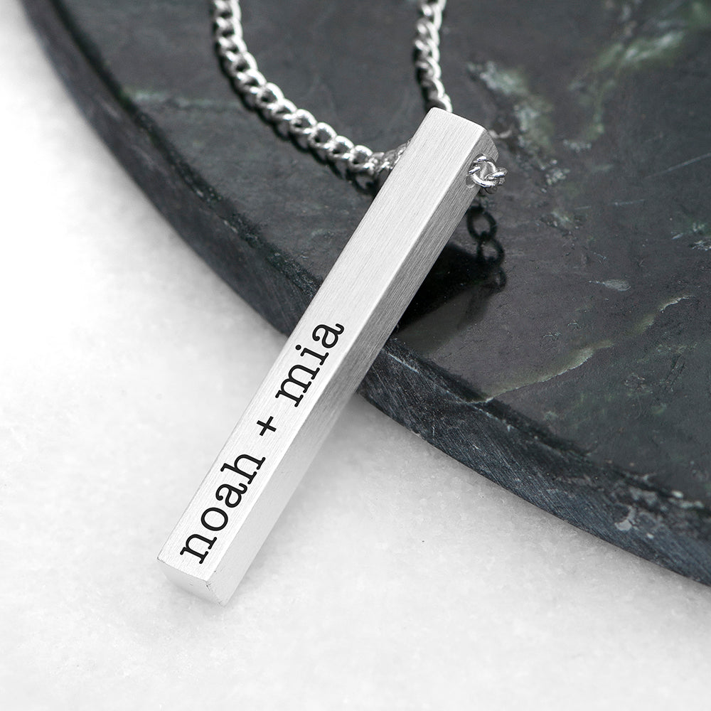 Personalised Men's Silver Solid Bar Necklace