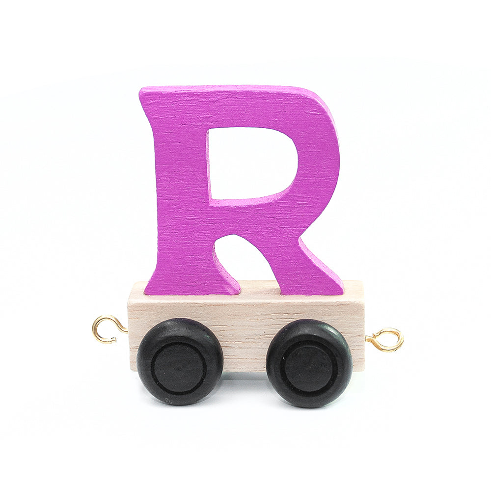 Personalised Children's Wooden Train - Pink and Turquoise