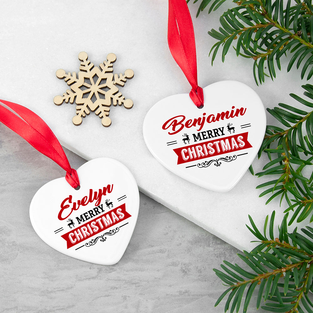 Personalised Christmas Heart Decoration
