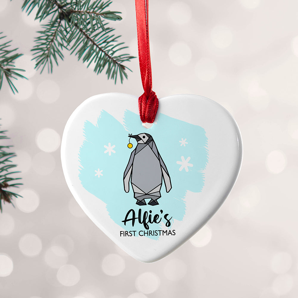 Personalised Baby Penguin Heart Decoration