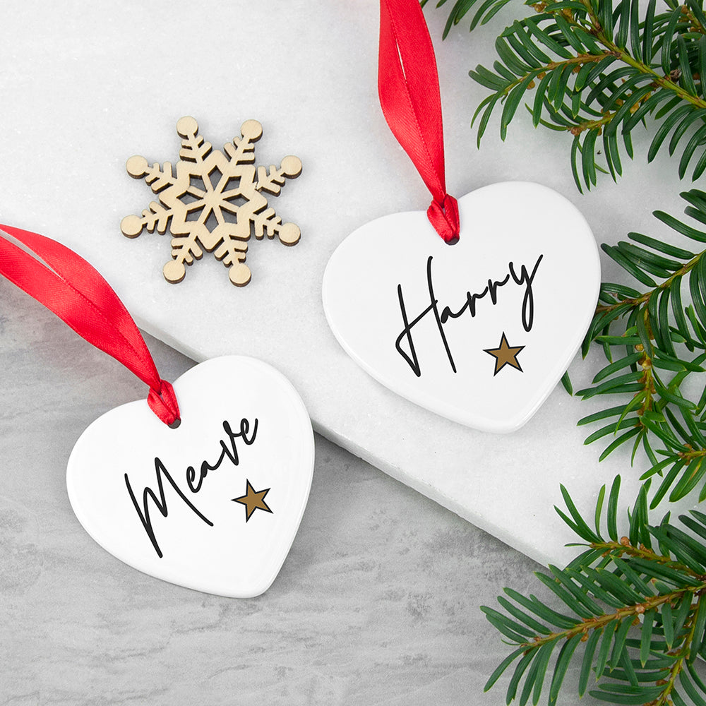 Personalised Christmas Star Heart Decoration