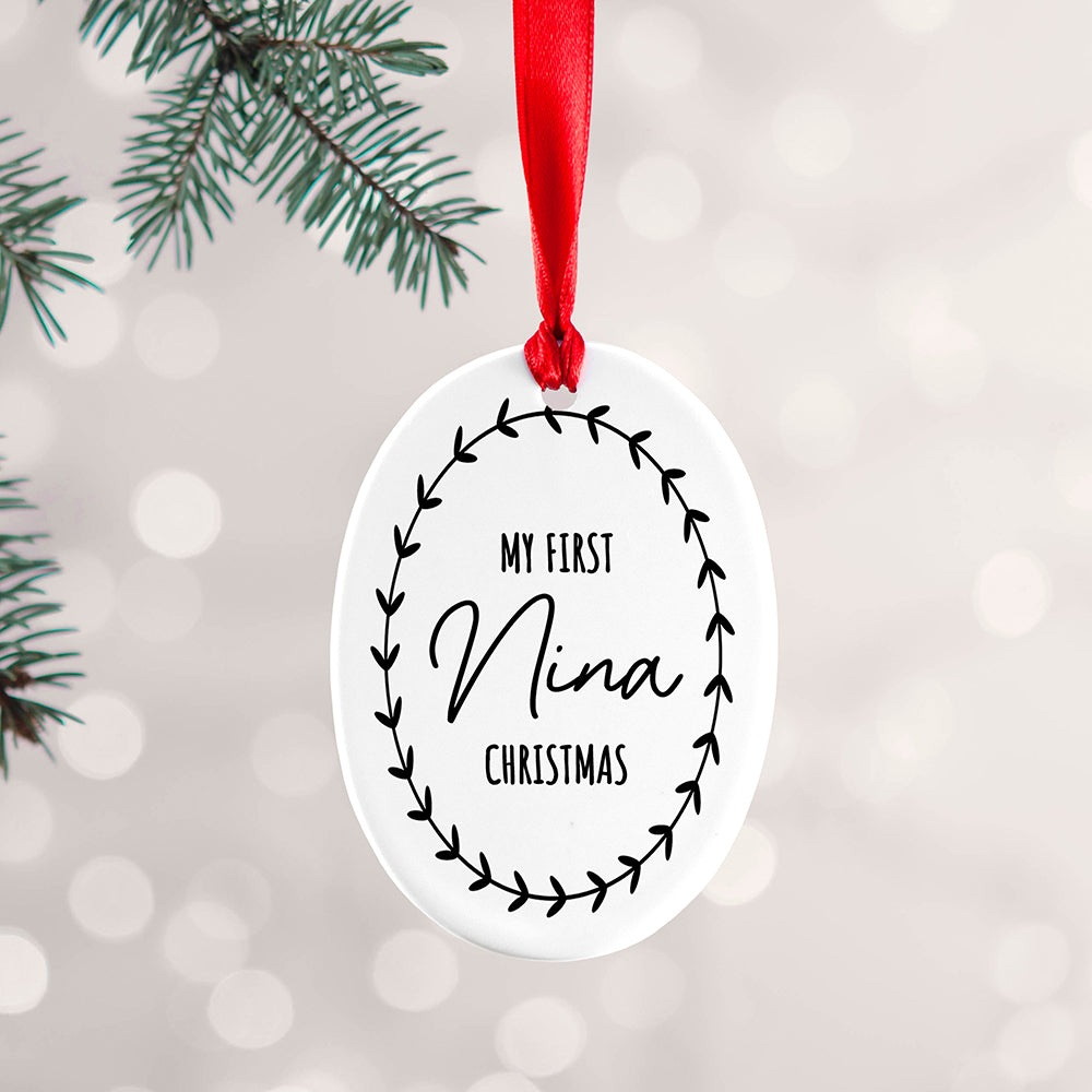 Personalised Baby's First Christmas Wreath Ceramic Tree Decoration