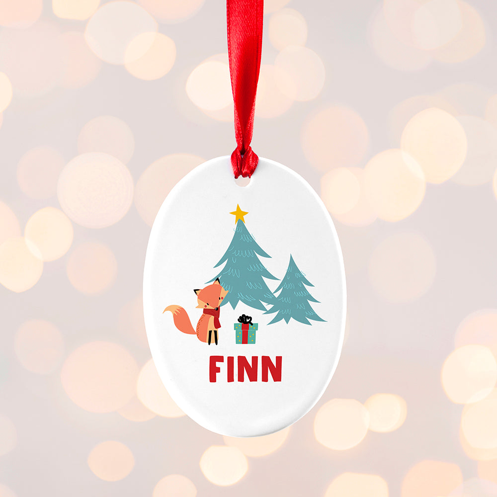 Personalised Christmas Fox Ceramic Tree Decoration